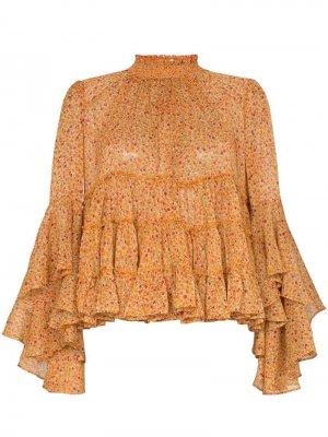 Ярусная блузка с оборками byTiMo. Цвет: оранжевый