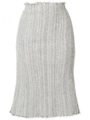 Твидовая юбка-карандаш с необработанными краями Thom Browne. Цвет: серый