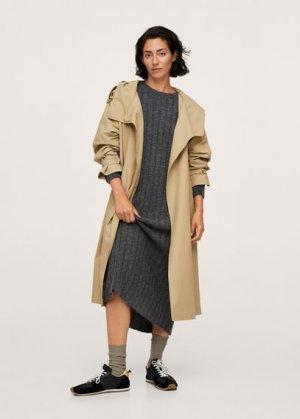 Миди-платье в рубчик - Canali-i Mango. Цвет: меланжевый темно-серый