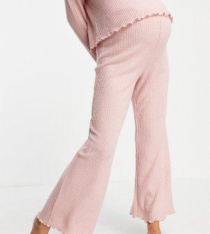 Домашние розовые брюки широкого кроя с вафельной фактурой от комплекта -Розовый цвет New Look Maternity
