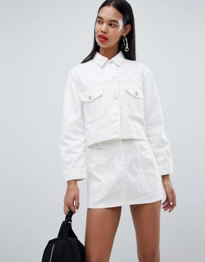 Укороченная джинсовая куртка Weekday. Цвет: белый
