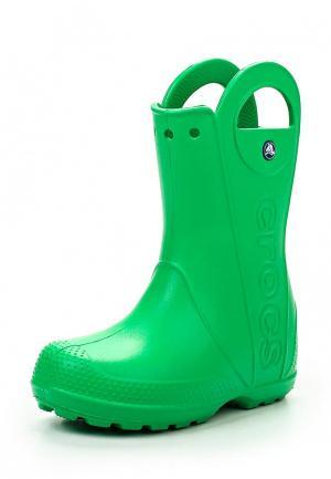 Резиновые сапоги Crocs Handle It Rain Boot Kids. Цвет: зеленый