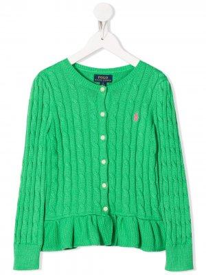Кардиган фактурной вязки с оборками Ralph Lauren Kids. Цвет: зеленый
