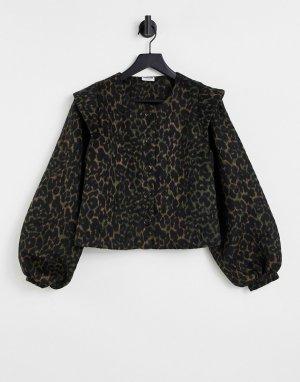 Куртка с длинными рукавами, большим воротником и леопардовым принтом Ela-Разноцветный Noisy May