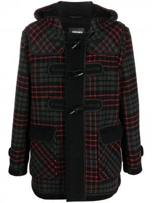 Клетчатое пальто с капюшоном Gloverall. Цвет: черный