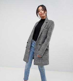 Приталенное пальто в клетку ASOS DESIGN Tall. Цвет: мульти