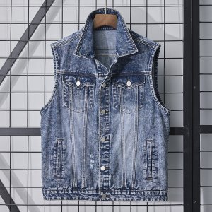 Мужской Жилет-куртка джинсовый SHEIN. Цвет: синий цвет средней стирки