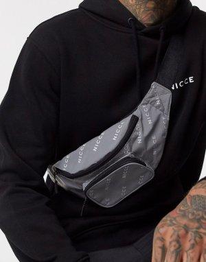 Серебристая сумка-кошелек на пояс со светоотражающим эффектом -Серебряный Nicce