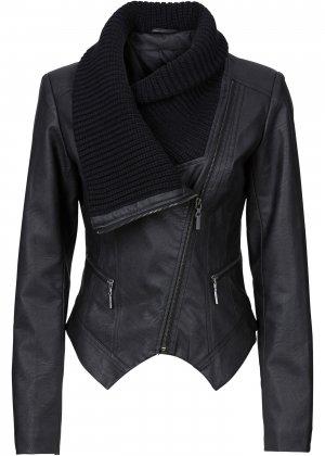 Куртка-косуха из искусственной кожи bonprix. Цвет: черный