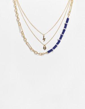 Ожерелье в несколько рядов золотистого и синего цветов с бусинами подвесками виде змеи сердца-замка -Золотистый Liars & Lovers