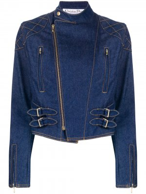Джинсовая байкерская куртка 2000-х годов pre-owned Christian Dior. Цвет: синий