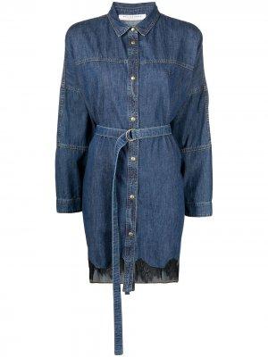 Джинсовое платье-рубашка Philosophy Di Lorenzo Serafini. Цвет: синий