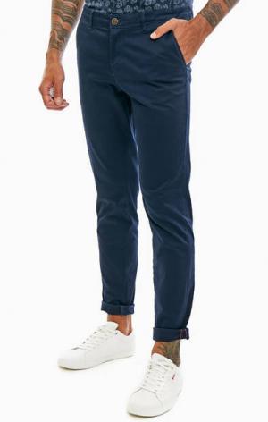 Синие хлопковые брюки чиносы Jack & Jones. Цвет: синий